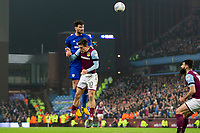 Sean Morrison of Cardiff City wins a header above Jack Grealish of Aston Villa during the Sky Bet Championship match between Aston Villa and Cardiff City at Villa Park, Birmingham, England on 10 April 2018. Photo by Mark  Hawkins / PRiME Media Images.