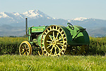 1929 John Deere model D tractor from the collection and at the ranch of Fred Stodieck; snow covered Sierra Range