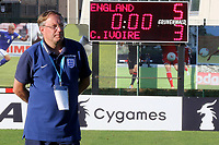 England Head Coach, Neil Dewsnip, proudly watches his team celebrate as England win the penalty shoot out during England Under-18 vs Ivory Coast Under-20, Toulon Tournament Final Football at Stade de Lattre-de-Tassigny on 10th June 2017