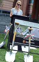 "Ryan Manion Borek speaks at the groundbreaking for the ""Renew. Resolve. Remember."" 9/11 Memorial sculpture, which is incorporating an I-beam from the World Trade Center at the Bucks County Justice Center Wednesday July 1, 2015 in Doylestown, Pennsylvania. (Photo by William Thomas Cain)"