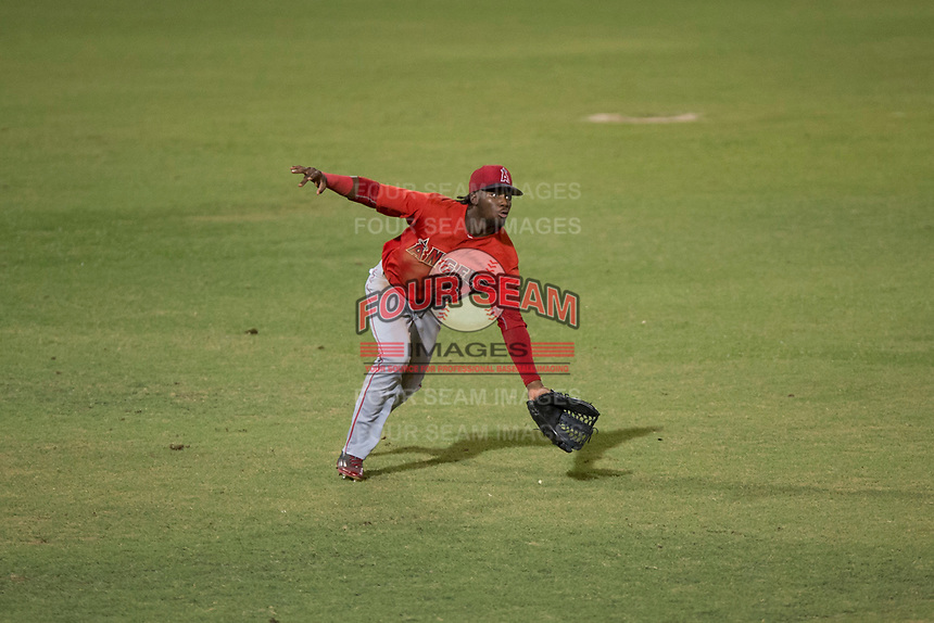 AZL Angels left fielder D'Shawn Knowles (20) attempts to make a diving catch during an Arizona League game against the AZL Padres 2 at Tempe Diablo Stadium on July 18, 2018 in Tempe, Arizona. The AZL Padres 2 defeated the AZL Angels 8-1. (Zachary Lucy/Four Seam Images)