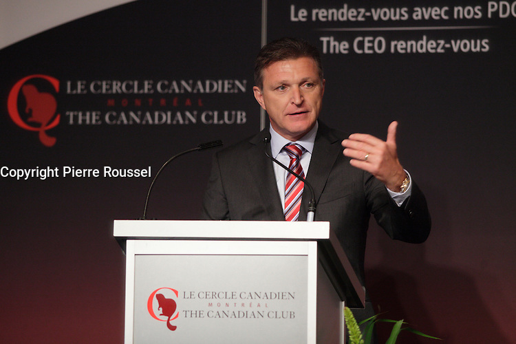 Marc Parent, President &amp; CEO of CAE Inc deliver a speech to the Canadian Club of Montreal<br /><br /> Photo : Agence Quebec Presse - Pierre Roussel