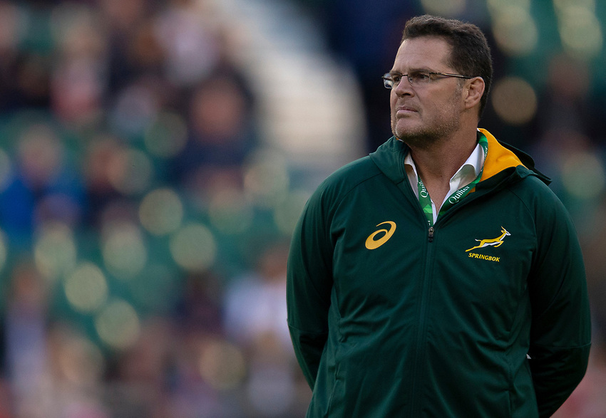 South Africa's Head Coach Rassie Erasmus<br /> <br /> Photographer Bob Bradford/CameraSport<br /> <br /> Quilter Internationals - England v South Africa - Saturday 3rd November 2018 - Twickenham Stadium - London<br /> <br /> World Copyright © 2018 CameraSport. All rights reserved. 43 Linden Ave. Countesthorpe. Leicester. England. LE8 5PG - Tel: +44 (0) 116 277 4147 - admin@camerasport.com - www.camerasport.com