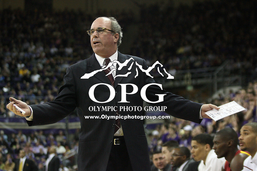 Mar 05, 2011:   USC head coach Kevin O'Neill argues the call from the bench against Washington.  USC defeated Washington 62-60 at Alaska Airlines Arena Seattle, Washington...