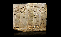 Hittite monumental relief sculpted orthostat stone panel of Procession. Limestone, Karkamıs, (Kargamıs), Carchemish (Karkemish), 900-700 B.C. Anatolian Civilisations Museum, Ankara, Turkey.<br /> <br /> Musicians. Two musicians with short arms, wearing long dresses and wide belts; one plays a Saz (a stringed musical instrument) with tassels on the handle while the other plays the flute. The third small figure holds castanets (?) in his hands. The figure on the right wears a short skirt, contrary to the others. She dances over her finger tips with her hands over her head.  <br /> <br /> Against a black background.