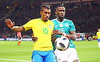 Antonio Rüdiger (Deutschland Germany) gegen Paulinho (Brasilien Brasilia) - 27.03.2018: Deutschland vs. Brasilien, Olympiastadion Berlin