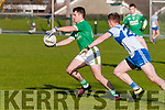 Ballyduff V Castleisland: Ballyduff's Jack Goulding wins the ball ahead of Castleisland Desmond's Ryan McGuire in their North Kerry Quarter final clash in the Bernard O'Calllgahan Memorial Senior Football Championship sponsored by McMunn's Bar & Restaurant, Ballybunion in Duagh on Sunday last.