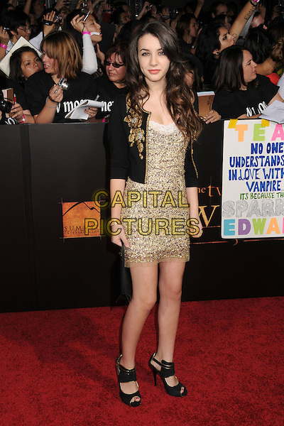 "HANNAH MARKS.""Twilight: New Moon"" Los Angeles Premiere held at Mann's Village Theatre, Westwood, California, USA..November 16th, 2009.full length brown gold beads beaded dress black jacket .CAP/ADM/BP.©Byron Purvis/AdMedia/Capital Pictures."