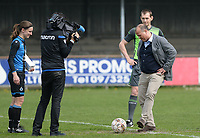 20180414 - AALTER , BELGIUM : Brugge's chairman Bart Verhaeghe pictured giving the matchball and kick off with referee Peter Vanbeselaere during the 21st matchday in the 2e Nationale Women's league , a womensoccer game between Club Brugge Dames and GFA Sinaai , in Aalter , saturday 15 th April 2018 . PHOTO SPORTPIX.BE | DAVID CATRY