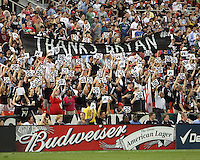 Fans of D.C. United pay tribute to Bryan Namoff during an MLS match against Seattle Sounders FC at RFK Stadium on July 15 2010, in Washington DC.Seattle won 1-0.