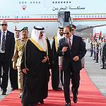 Egyptian President Abdel Fattah al-Sisi welcoming King of Bahrain Hamad bin Issa al-Khalifa upon his arrival in Cairo, on June 8, 2017. Photo by Egyptian President Office