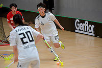 Korea&rsquo;s Namhyung Kim in action during the World Floorball Championships 2017 Qualification for Asia Oceania Region - Korea v China at ASB Sports Centre , Wellington, New Zealand on Saturday 4 February 2017.<br /> Photo by Masanori Udagawa<br /> www.photowellington.photoshelter.com.