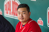 Ji-Man Choi (38) of the Tacoma Rainiers before the game against the Salt Lake Bees in Pacific Coast League action at Smith's Ballpark on September 1, 2015 in Salt Lake City, Utah. The Bees defeated the Rainiers 10-1.  (Stephen Smith/Four Seam Images)