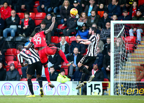 February 18th 2017,  Matchroom Stadium, Leyton, London, England, Skybet Division 2 football, Leyton Orient versus Notts County;   Teddy Mezague of Leyton Orient climbs above Shola Ameobi of Notts County and heads the ball past Notts County Goalkeeper Adam Collin, to level the score at 2-2 in the 82nd minute
