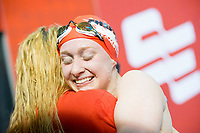 Picture by Allan McKenzie/SWpix.com - 13/12/2017 - Swimming - Swim England Winter Championships - Ponds Forge International Sport Centre - Sheffield, England - Rosie Rudin hugs Eleanor Faulkner after racing to silver in the womens open 400m individual medley.