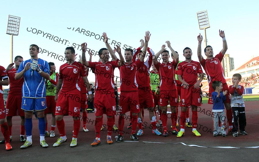 Fudbal Super liga season 2013-2014<br /> Radnicki (Nis) v Vozdovac<br /> Radost fudbalera Radnickog nakon zavrsetka utakmice<br /> Nis, 09.11.2013.<br /> foto: Sasa Djordjevic/Starsportphoto &copy;
