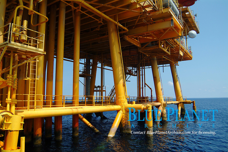 Pylons and legs of a gas rig platform above water in Flower Garden bank sanctuary in Gulf of Mexico, off Texas coast, USA, United states