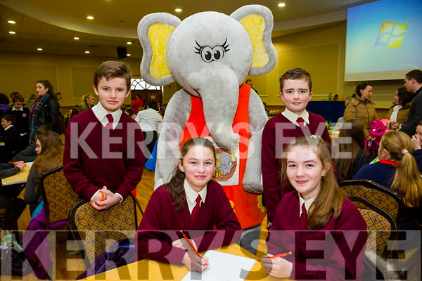 At the Credit Union Primary schools  Table Quiz in Brandon Hotel on Sunday were Eibhleann Daly, Alannah O'Leary, Back L-r Michael Moynihan and Brian McCarthy from Knockderry N.S, Farranfore