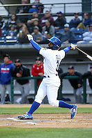 Andrew Toles (3) of the Rancho Cucamonga Quakes bats against the High Desert Mavericks at LoanMart Field on April 30, 2016 in Rancho Cucamonga, California. Rancho Cucamonga defeated High Desert, 7-6. (Larry Goren/Four Seam Images)