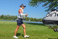 Azahara Munoz (ESP) attempts to cool off as she walks down 17 during round 2 of the 2018 KPMG Women's PGA Championship, Kemper Lakes Golf Club, at Kildeer, Illinois, USA. 6/29/2018.<br /> Picture: Golffile | Ken Murray<br /> <br /> All photo usage must carry mandatory copyright credit (© Golffile | Ken Murray)