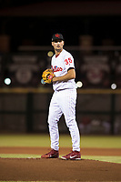 Scottsdale Scorpions starting pitcher Tyler Viza (35), of the Philadelphia Phillies organization, gets ready to deliver a pitch during an Arizona Fall League game against the Salt River Rafters at Scottsdale Stadium on October 12, 2018 in Scottsdale, Arizona. Scottsdale defeated Salt River 6-2. (Zachary Lucy/Four Seam Images)