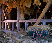 Old World Wisconsin State Historic Site, Waukesha County, WI<br /> Bundled straw hanging from a barn loft with wooden cart