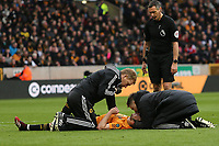 Diogo Jota of Wolverhampton Wanderers receives treatment during Wolverhampton Wanderers vs Brighton & Hove Albion, Premier League Football at Molineux on 7th March 2020