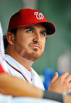 8 September 2011: Washington Nationals pitcher John Lannan watches play from the dugout during a game against the Los Angeles Dodgers at Nationals Park in Washington, DC. The Dodgers defeated the Nationals 7-4 to take the third game of their 4-game series. Mandatory Credit: Ed Wolfstein Photo