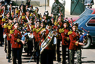March 1982, Lebanon: in Rashidiya Camp, the most south Palestinian camp of the country. Here children in uniform learn military music.