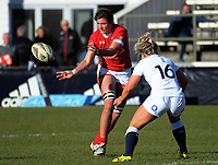 Cindy Nelles passes during the 2017 International Women's Rugby Series rugby match between England Roses and Canada at Rugby Park in Christchurch, New Zealand on Tuesday, 13 June 2017. Photo: Dave Lintott / lintottphoto.co.nz
