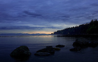 Dusk looking west over the Strait of Juan de Fuca from French Beach, Vancouver Island British Columbia.