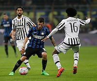 Calcio, Serie A: Inter vs Juventus. Milano, stadio San Siro, 18 ottobre 2015. <br /> FC Inter's Stevan Jovetic, left, is challenged by Juventus&rsquo; Juan Cuadrado during the Italian Serie A football match between FC Inter and Juventus, at Milan's San Siro stadium, 18 October 2015.<br /> UPDATE IMAGES PRESS/Isabella Bonotto