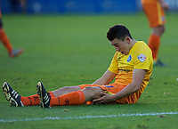 Luke O'Nien of Wycombe Wanderers after being brought down during the Sky Bet League 2 match between AFC Wimbledon and Wycombe Wanderers at the Cherry Red Records Stadium, Kingston, England on 21 November 2015. Photo by Alan  Stanford/PRiME.