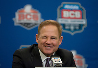 LSU Head Coach Les Miles smiles and winks while talking with the reporters during BCS National Championship Head Coaches Press Conference at Marriott Hotel at the Convention Center at New Orleans, Louisiana on January 8th, 2012.