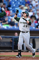 Fort Wayne TinCaps designated hitter Jake Bauers (25) crosses home after hitting a home run during a game against the Lake County Captains on August 21, 2014 at Classic Park in Eastlake, Ohio.  Lake County defeated Fort Wayne 7-8.  (Mike Janes/Four Seam Images)