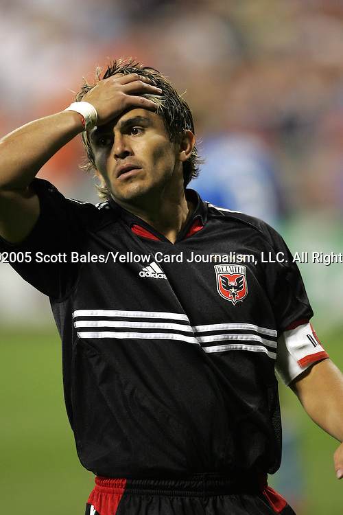 21 May 2005: DC United's Jaime Moreno reacts with disbelief following a save by Kansas City's Bo Oshoniyi (not pictured). DC United defeated the Kansas City Wizards 3-2 at RFK Stadium in Washington, DC in a regular season Major League Soccer game. .