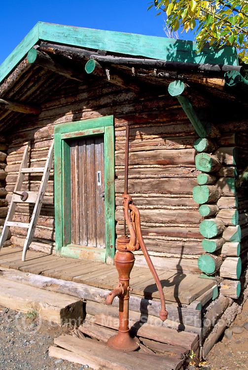 Burwash Landing at Kluane Lake, Yukon Territory, Canada - Old Log Cabin and Water Pump, Klondike Region