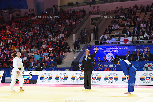 (L-R) Andreea Chitu (ROU), Misato Nakamura (JPN), AUGUST 25, 2015 - Judo : World Judo Championships Astana 2015 Women's -52kg Final match at Alau Ice Palace in Astana, Kazakhstan. (Photo by AFLO SPORT)