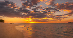 Sunset on beach at Mana Island Resort and Spa in the Mamanucas, Fiji