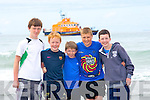 BRAVE: Ready to be rescued by the Ballyheigue Sea Rescue at the Sea Rescue demonstration Day at Banna Strand, on Sunday were boys from Fenit, l-r: Conor Downing, Callan Scully, Ben Purcell, Tierney Mason and Colm Kenny.