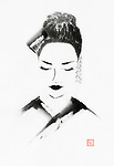 Beautiful minimalistic portrait of a Japanese woman face. Geisha, Maiko. Artistic oriental Zen style illustration Inspired by Sayuri from Memoirs of a Geisha. Sumi-e ink painting on white rice paper background. Image © MaximImages, License at https://www.maximimages.com