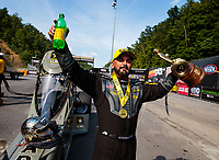 Jun 17, 2018; Bristol, TN, USA; NHRA top fuel driver Tony Schumacher celebrates after winning the Thunder Valley Nationals at Bristol Dragway. Mandatory Credit: Mark J. Rebilas-USA TODAY Sports