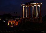Temple of Saturn at night 500 BC Forum Romanum Rome