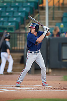 Mississippi Braves Drew Waters (3) bats during a Southern League game against the Jackson Generals on July 23, 2019 at The Ballpark at Jackson in Jackson, Tennessee.  Mississippi defeated Jackson 1-0 in the second game of a doubleheader.  (Mike Janes/Four Seam Images)