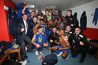 Victorious Maldon players celebrate in the changing room during Leyton Orient vs Maldon & Tiptree, Emirates FA Cup Football at The Breyer Group Stadium on 10th November 2019
