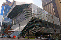 Seattle Central Library building exterior in downtown Seattle, Washington state, USA