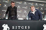 """Director of Sitges festival, Angel Sala and mexican director Guillermo del Toro during press conference of presentation of film 'The Shape of Water"""" during Sitges Film Festival in Barcelona, Spain October 05, 2017. (ALTERPHOTOS/Borja B.Hojas)"""