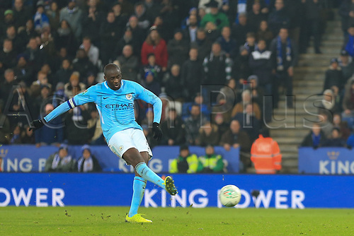 19th December 2017, King Power Stadium, Leicester, England; Carabao Cup quarter-final, Leicester City versus Manchester City; Yaya Toure of Manchester City scores his penalty  in penalty shoot out