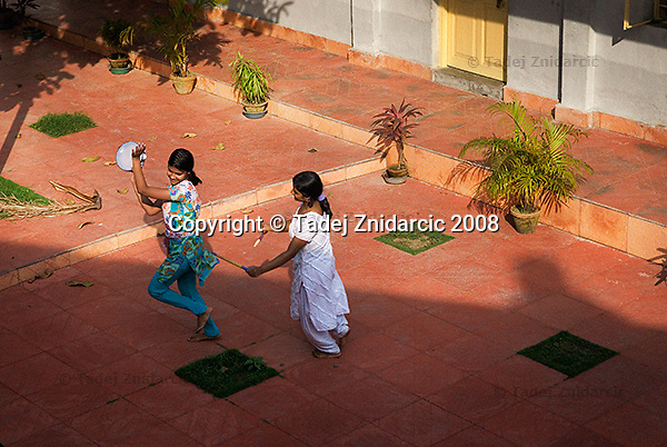 Girls play during a regional workshop on dance movement therapy, organized by Kolkata Sanved. Kolkata, India.
