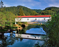 Milo Academy covered bridge over South Umpqua River in Douglas County Oregon